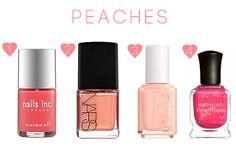 peach colored hearts manicure