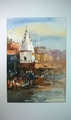 Varanasi ghats - watercolour painting