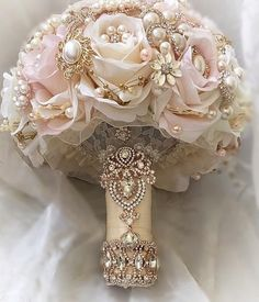 Custom Lush Blush Pink and Ivory with Gold and Rose Gold Bridal Brooch Bouquet Full Price is 49900 Deposit to place a Custom Order is 299300 Balance p Quince Decorations, Quinceanera Decorations, Quinceanera Party, Rose Gold Quinceanera Dresses, Gold Wedding Decorations, Gold Wedding Colors, Wedding Flowers, Rose Gold Wedding Dress, Pink And Gold Wedding