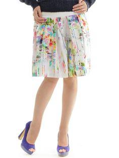 #AdoreWe StyleWe Midi Skirts - Conquista Multicolor A-line Floral-print Cotton Midi Skirt - AdoreWe.com