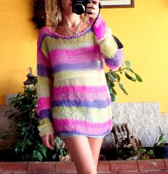 Soft Mohair Blouse Oversized Tunic Women's Knit Sweater by MyAqua