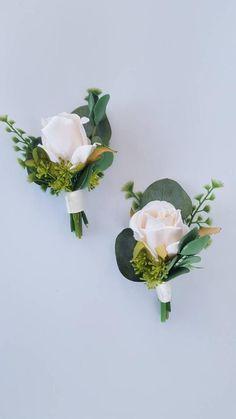 Ivory Rose Boutonniere with Mixed Greenery Eucalyptus Groomsmen Boutonniere Boho Wedding Spring Summer Wedding Mens Flower Prom Boho Wedding, Floral Wedding, Wedding Colors, Wedding Ideas, Spring Wedding Flowers, Wedding Summer, Elegant Wedding, Corsage Wedding, Wedding Bouquets