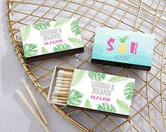 Personalized Black Matchboxes - Pineapples & Palms (Set of Want the perfect tropical bridal shower favors? Wedding Favors Unlimited, Destination Wedding Favors, Unique Wedding Favors, Wedding Planning, Wedding Ideas, Personalized Party Favors, Personalized Wedding, Pineapple Palm, Pineapple Print