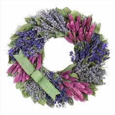 "Duncraft.com: French Garden WalkWreath 16"" diameter,  made from sudan grass, lavender, wheat and leaves, and can either be hung on a wall or used as the foundation of a centerpiece. #wreath #lavender"