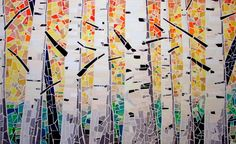 """""""Aspens Aglow"""" by Lori Miller. A fabric mosaic using light fabric as a base to capture the whiteness of aspen trees against fall colors. Mosaic Art, Mosaics, Aspen Trees, Fabric Art, Fiber Art, Art Dolls, Patches, Textiles, Quilts"""