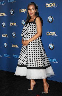 Kerry Washington in Oscar de la Renta's white tulle daisy cotton guipure embroidered dress.