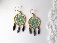 Dream Catcher patina dangle earrings with Czech glass jet picasso daggers by RicePaperJewels on Etsy