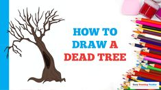 Learn to draw a dead tree. This step-by-step tutorial makes it easy. Kids and beginners alike can now draw a great dead tree. Trees Drawing Tutorial, Flower Drawing Tutorials, Cartoon Drawing Tutorial, Cartoon Drawings, Animal Drawings, Easy Drawings, Drawing Ideas, Nature Drawing, Plant Drawing