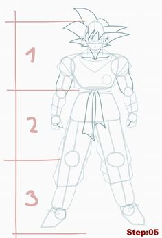 How to draw Goku from Dragon Ball Z step 05