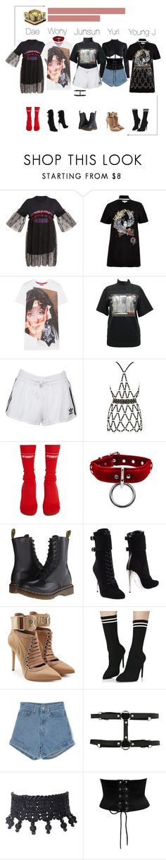 """'I Miss You' // Inkigayo"" by kaen-official ❤ liked on Polyvore featuring Jean-Paul Gaultier, River Island, House of Holland, adidas Originals, Zana Bayne, Vetements, Dr. Martens, Balmain, Puma and Liliana"
