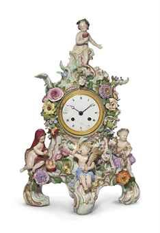 A MEISSEN PORCELAIN FIGURAL AND FLOWER-ENCRUSTED CLOCK -late 19th/early 20th century-sold at Christies