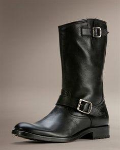 Modern Black Leather Motorcycle Boot, @ Frye.com. Men's Fall Winter Fashion.