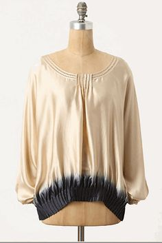 Dipped Silk Blouse by Anthropologie