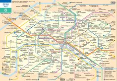 This is a graphic of a Parisian metro map. Each of the colors indicate a different line and shows the destinations and routing spots for each other throughout the city.