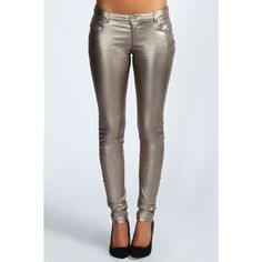 Boohoo Demi Metallic PU Skinny Trousers ($45) ❤ liked on Polyvore featuring pants, metallic skinny pants, skinny trousers, flat-front pants, skinny pants and metallic trousers