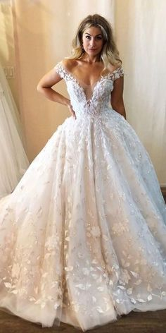 42 Off The Shoulder Wedding Dresses To See � off the shoulder wedding dresses ball gown deep v neckline floral appliques inesdisanto #weddingforward #wedding #bride Latest Wedding Gowns, Wedding Dress Trends, Black Wedding Dresses, Wedding Dress Shopping, Designer Wedding Dresses, Bridal Dresses, Black Weddings, Wedding Black, Bridesmaid Dresses