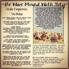 """He Was Moved With Pity""// Tender Compassion, The Motive // The apostles gathered around Jesus and reported to him all the things they had done and taught. And he said to them: ""Come, you yourselves, privately into an isolated place and rest up a little."" For there were many coming and going, and they had no leisure time even to eat a meal. So they set off in the boat for an isolated place to be by themselves. But people saw them going and many got to know it, and from all the cities they…"