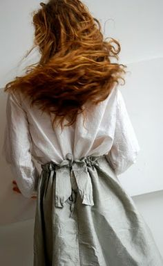 grey and white linen and beautiful hair
