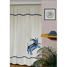 Perfect Crab Linen Blend Shower Curtain By Thro