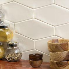 Ivy Hill Tile Birmingham Ceramic Field Tile in Vanilla Glazed Ceramic Tile, Ceramic Subway Tile, Beveled Subway Tile, Hexagon Tile Backsplash, Backsplash Ideas, Tile Ideas, White Tile Backsplash Kitchen, Traditional Kitchen Backsplash, Kitchen Backsplash Inspiration