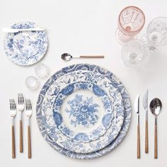 One of our very favorites!! Our Blue Fleur de Lis Chargers + Blue Garden Collection China + Teak Flatware + Pink/Cut Crystal/Coupe Trios + Antique Crystal Salt Cellars // Casa de Perrin