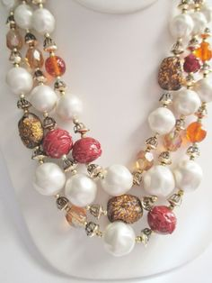 Vintage 3 Strand Necklace Dark Red / Amber /Foiled Glass Beads Japan Faux Pearls #UnsignedBeauty #BeadStrandTripleBeadStrand