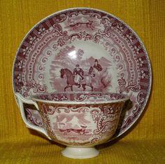 19thC DAWSON & Co, Sunderland Child s Mulberry Red Huntsman CUP & SAUCER