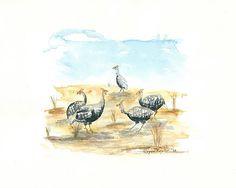 Guinea Fowl Zimbabwe Africa by RogansWatercolours on Etsy, $30.00