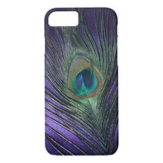 Silky #purple  #Peacock #Feather iPhone 8/7 Case #amethyst #feathers #iphone8cases