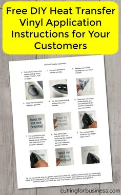 Free DIY Heat Transfer Vinyl Application Instructions to Use for Customers in…