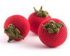 1 Pcs Crochet Cherry teether teeth play food kitchen by MiniMoms