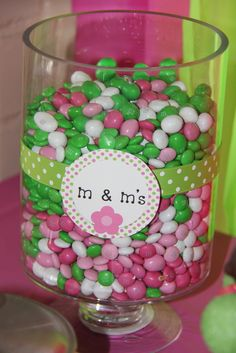 """Pink & green M & Ms for a candy/dessert table, or centerpiece - Mod Monkey / Birthday """"Mylee's Birthday Party"""" 1st Birthday Party Games, Monkey Birthday Parties, Watermelon Birthday Parties, 2nd Birthday, Birthday Ideas, Birthday Sweets, Zombie Birthday, Strawberry Shortcake Birthday, Strawberry Shortcake Centerpieces"""