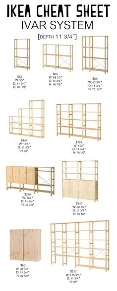 Ivar System: Ikea Cheat Sheet - Petite Modern Life Looking for an easy way to navigate the Ikea Ivar System? Check out my Ikea Cheat Sheet to find the right dimensions and cost for your space. Ikea Ivar Shelves, Ivar Ikea Hack, Ikea Storage, Storage Ideas, Ikea Ivar Regal, Dressing Ikea, Ikea Pantry, Up House, Ikea Furniture