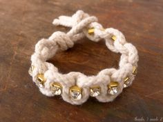 Cute Rope and Rhinestone jewelry design - can easily be done with cotton yarn!
