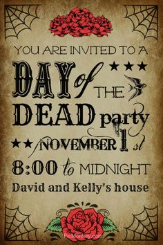 Party like it's 1899!  Day of the Dead party invitation with antique-y fonts and groovy embellishments. http://picmonkey.com/#go/themes/dayofthedead #dayofthedead