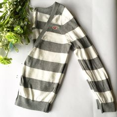 Hollister Striped Cardi 100% cotton, gray/white stripped, V-neck, 6 buttons, EUC Hollister Sweaters Cardigans
