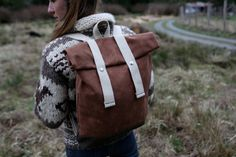 Wax Canvas Backpack - Weather Resistant - Blush Brown and Dark Tan