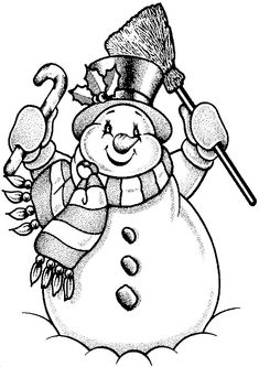 snowman coloring page picture with candy cane for children
