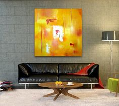 Original Abstract Painting handmade artwork 36x36 city yellow painting contemporary landscape, modern artwork, beautiful wall decor art