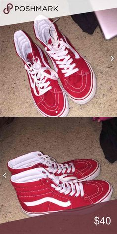 2ccbccdf8b Shop Women s Vans Red White size 7 Sneakers at a discounted price at  Poshmark.