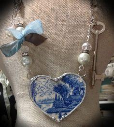 Broken china jewelry blue transfer ware heart by THECHARMINGCHERUB    I have a boatload of broken polish pottery....