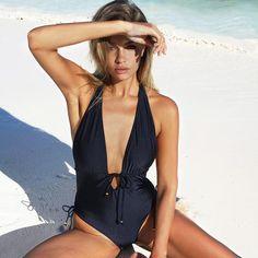 #BestPrice #FASHION #NEW Cupshe Best Wishes Halter One-piece Swimsuit Backless Deep V neck Summer Sexy Bikini Set Ladies Beach Bathing Suit…