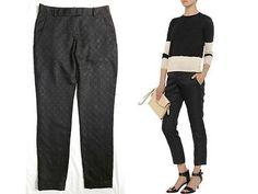 THEORY CHIC ~JACQUARD MARSIENNA TORI~ TAPERED CUFF BLACK POCKET PANTS $255 8