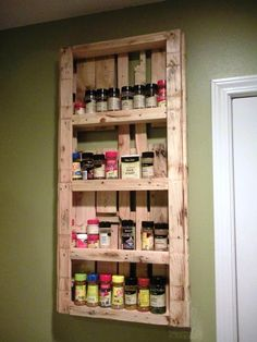 Large Pallet Kitchen Spice Rack - 20 Recycled Pallet Ideas - DIY Furniture Projects | 101 Pallets