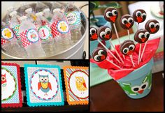Great owl idea for a 1st birthday boy or girl. This also has that recipe for Oreo owl pops and a link to the cute owl printables