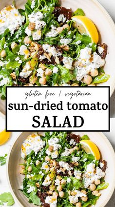 the very best SUN-DRIED TOMATO SALAD made with arugula and topped with sun-dried tomatoes, chickpeas, walnuts, and feta cheese! It's an easy and healthy lunch recipe that's plant-based too! #salad #sundriedtomato #vegetarian Tomato Salad Recipes, Healthy Salad Recipes, Veggie Recipes, Lunch Recipes, Vegetarian Recipes, Healthy Food, Healthy Meals, Free Recipes, Yummy Food