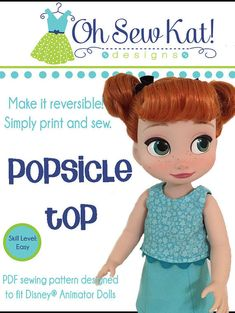 PDF Sewing Pattern for 16 inch Disney® Animator dolls - Popsicle Top ePattern Easy to sew doll clothes pattern