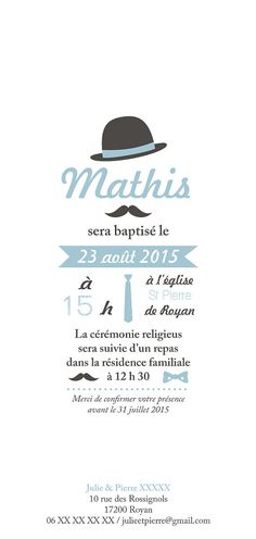 Invitation baptême Mister Moustache