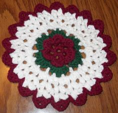 Free Crochet Hot Pad Patterns | Rose Hotpad , originally uploaded by EMCphotos .