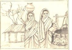 The village women at well for drinking water - Media - Artist Daily